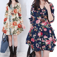 2014 Fall Winter Fashion Rose Flower Printed Casual Plus Size Women Long Sleeve Loose V-neck Floral Dress Clothing M-2XL