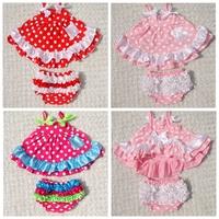 summer outfits Baby Girl strap ruffled polka dots short dress  top shirt+ baby ruffled lace Bloomers shorts 2pcs Clothing Set