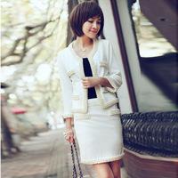 014 spring new handmade beads knitted suits uniform for beauty salon skirt suit for women beauty salon uniforms (jacket + skirt)