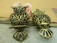 4pcs  14*26*51mm bronze owl floating locket christmas charm bracelet necklace pendant diy cabochon jewelry findings accessories