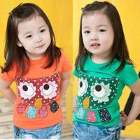 2014 summer owl girls short-sleeve T-shirt  tx-0861-test2 4pcs/lot