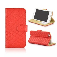 For Apple Iphone 6 Plus Case 5.5 Inch Grid PU Leather Lattice Cover Cases With Wallet Card Holders Stand Function 30PCS