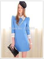 2014 new autumn& winter European American style openwork retro hit color fashion sweet doll collar Slim thin mini dress