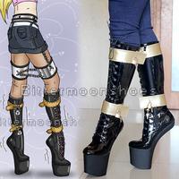 ~~CUSTOM~~Free shipping Unisex ponyplay platform fetish knee high boots with lock strap US5-46
