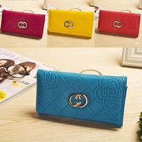 6 colors Brief Rose Flower Pattern Women 2014 Fashion Wallet with Metal Long Purse Money Clip Carteira Feminina