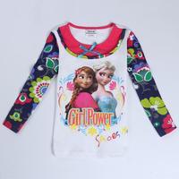 girls t shirts kids wear nova brand children clothes novelty frozen clothing spring/autumn long sleeve t shirt for girls F5418