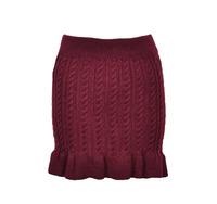 Cute Autumn Winter Knit Stretch Tight Ruffle Edge Mini Skirt, 4 Colors