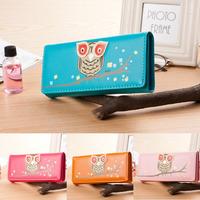 New 2014 Fashion Owl Cartoon Women Wallets Leather Wallet Cute Holder For Money Women Clutch Coin Purse