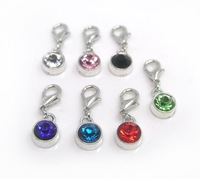 Free shipping Floating Charms mixed Pendants with Lobster Clasp Crystal Rhinestone charms mix color 14pcs per lot