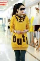 2014 autumn  new women's wear loose thickening fleece jacket with hood letters Sweatshirts