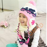 2014 Korean children in autumn and winter hat Korean children, boys and girls hat knitted hat wool hat Scarf Set