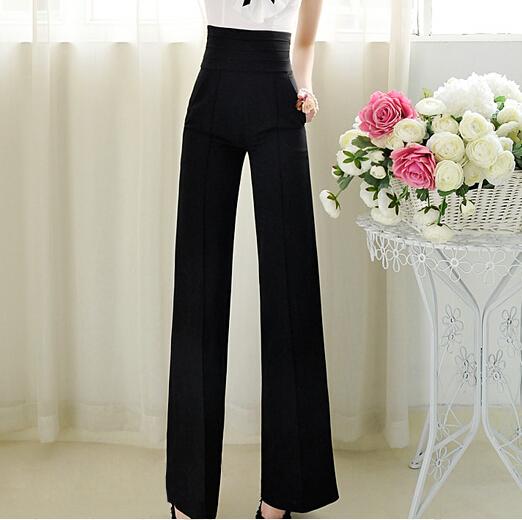 New Brand 2014 Women Casual OL Pants Ladies High Waist Black Color Slim Wide Leg Pants Womens Trousers Plus Size S-XXL(China (Mainland))