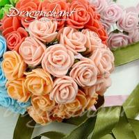 Sale!!!144pcs 25mm Head Multicolor PE Rose Foam Mini Flower Bouquet Solid Color/Scrapbooking Artificial Rose Flowers