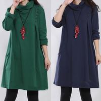 2014 women dress plus size autumn&winter dress new casual large dress loose long sleeve high collar button cotton dresses