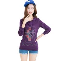 New female Korean loose long-sleeved hooded T shirt printing clock hot drill  free shipping