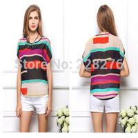 High Quality Chiffon Bat sleeve T-shirt 2014 Women Fashion Casual T Shirt Women All Match Tee Blusas Femininas Plus Size S-3XL