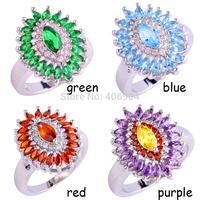 Wholesale Fashion Marquise Cut Emerald Quartz & Blue Topaz Amethyst Garnet 925 Silver Ring Size 7 8 9 10 Women Christams Gift