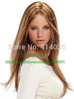 Women's Long Brown Blonde mix Straight Hair Wigs Fashion Natural Wig Vogue no Lace Front Kanekalon Wigs free shipping