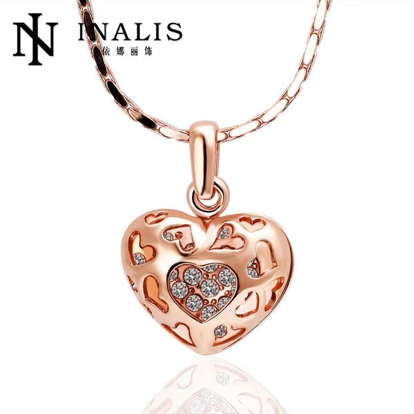 LBY Fashion Jewlery 2015 High Quality 18K Gold Plated Hollow Heart Fashion 18K Golden Heart Jewelry