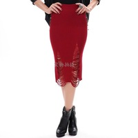 Autumn Winter Knit Stretch Tight Ripped Knee-length Skirt with Holes, 4 Colors