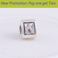 Promotion Authentic 925 Sterling Silver Beads Alphabet Letter K Charm Beads Suitable for Pandora Style Charm Bracelets LE02-K