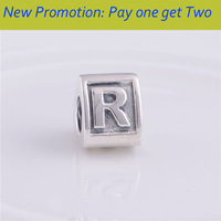 NEW 925 Sterling Silver Triangle Alphabet Name Abbreviation Letter R, DIY  Bead Jewelry Fit for pandora Charm Bracelet LE02-R
