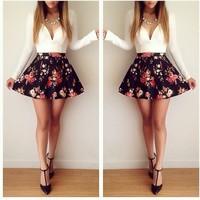 2014 Women White Print Patchwork Black Cute Vestidos Dress Z002#