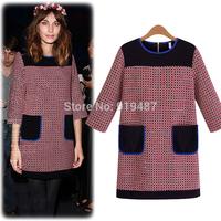 2014 New Europe fashion winter casual dress women vestidos plaid O-neck streaight dress Free Shipping 7456