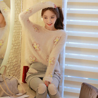 Free shipping South Korean women's 2014 new autumn and winter sweater loose sweater sweet flowers female long-sleeved sweater