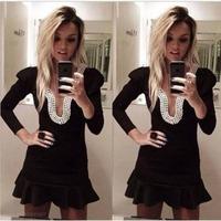 2014 Long Sleeve Black Mini Backless Prom Dresses Party Dress Gowns Vestidos De Fiesta