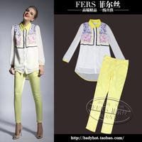 2014 autumn fashion print peter pan collar chiffon top trousers casual set female