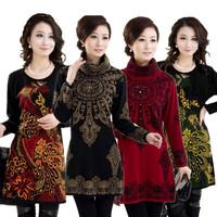 2015 Winter High-Necked Long-Sleeved Sweater Women Warm Jacket Embroidered Pullover Sweater Owl Jumper Skirt M-XXXL