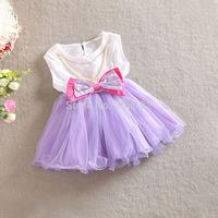 2T-5T 2014 Fashion Summer Little Girls Vestidos Dress Kids Girl Evening Dress w Bowknot  Tutu Dresses Costume