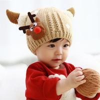 Christmas gift Baby Caps deer Pattern Knitting Children's Lovely Warm Hats Wool Beanies Cap Ear Protect boy girls kid Winter Hat