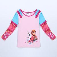 Children Clothing Girls T Shirt Nova Brand Kids Wear Novelty Frozen Clothes Spring/Autumn Long Sleeve T Shirts For Girls