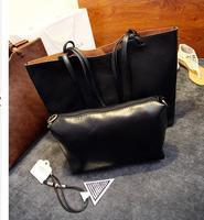 Autumn and Winter vintage fashion Lash package shoulder bag pure color tow set pu single handbag for women