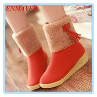 ENMAYER high-quality New 2015 Fashion Round Toe wedges women boots for women Platform Tassel winter boots