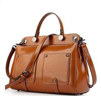 Oil Wax Cowhide Leather Handbags 2014 Women Vintage Rivet Genuine PU Leather Bags Shoulder Bag 5 Colors Messenger Handbag B628