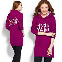 2014 autumn and winter slim medium-long plus size print sweatshirt female with a hood pullover hoodies outerwear plus velvet