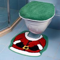 Bathroom creative cute Santa Claus Christmas bathroom product anti-slip water absorption toilet seat cover U pad set HD0212