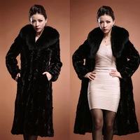 New autumn and winter warm coat jacket Leather grass imitation mink fur longer section Nagymaros collar coat black coat women