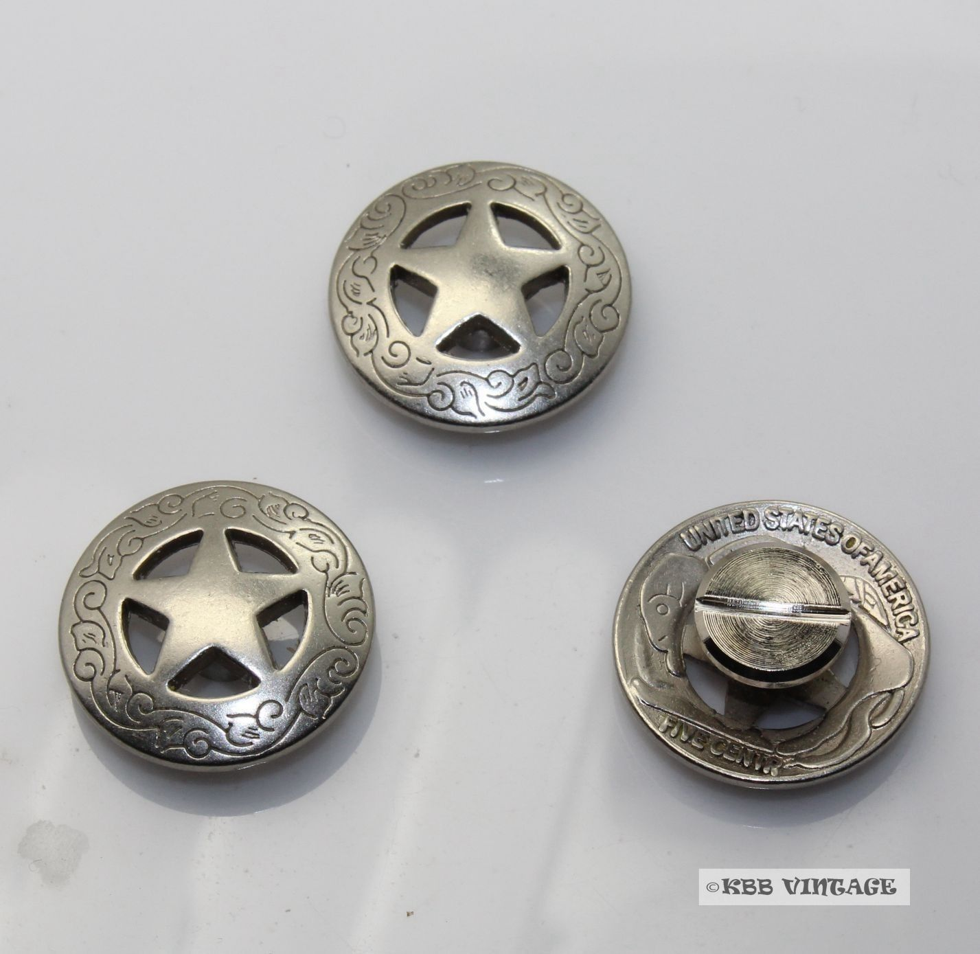 Daily deal ! 10pc 3/4'' Metal Concho Western Texas Star Concho Leathercraft Antique-Silver(China (Mainland))