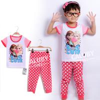 Wholesale 6 sets/lot for 2-7 years old  100% cotton kids pajamas short sleeve  sleepwear girls frozen pajamas X-550-10-22