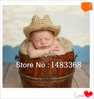 Free shipping cowboy baby hat handmade crochet photography props newborn baby cap(China (Mainland))