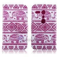 PU Leather Porcelain Style Elephants National style Flower Pattern Wallet Flip Cover Case for Motorola Moto G XT1031/XT1032