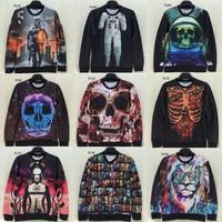 [Magic] Big Skull 3d hoodie men new style long sleeve o neck 3D sweatshirt good printing men's sweatshirts 76models free ship
