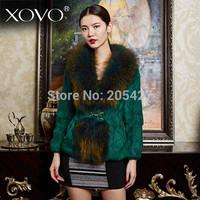 2014  New Arrival XOVO French Gold Fox Slim Style Foc Fur Collar Double-faced Fur Rabbit Fur Coat Short Coat