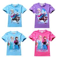 Retail 3-7yrs 2014 New Arrival Frozen Dress Elsa & Anna T-shirt Children T shirt Girls Clothes baby Tees 100% Cotton Free