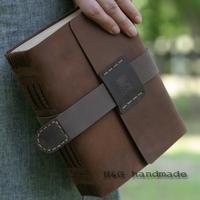 Hg handmade tsmip cowhide tsmip fashion vintage tsmip genuine leather magic this notebook diary free shipping