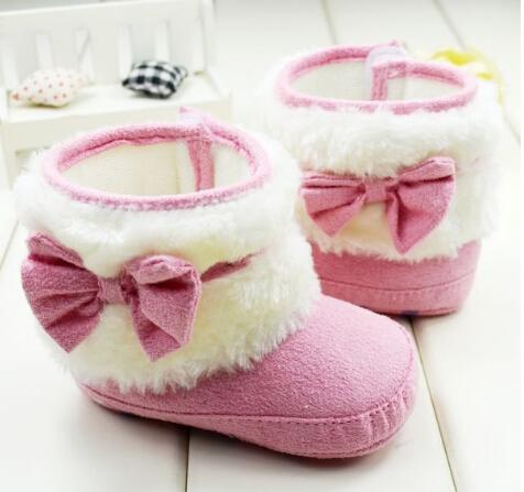 botas menina rosa algodão grosso- acolchoado crianças marca nó borboleta antiderrapante sapatos macios sapatos criança sapatas flexíveis(China (Mainland))